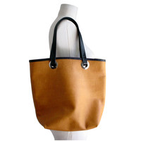 Leather tote bag, honey tan & black