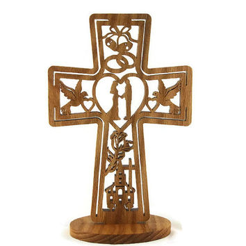 Wedding Marriage Cross Handmade From Oak Wood, Church, Bride, Groom, Doves, Hearts, Bells, Flowers, and Cross