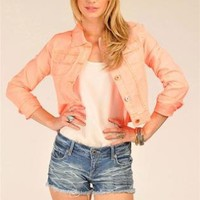 Cropped Neon Long Sleeve Denim Jacket with Front Pockets