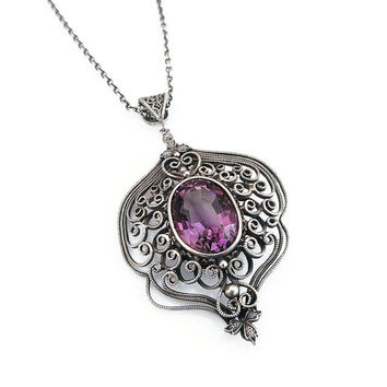 Victorian Revival, Sterling Necklace, Amethyst Gemstone, Sterling Silver, Silver Filigree, Pendant Necklace, Vintage Necklace