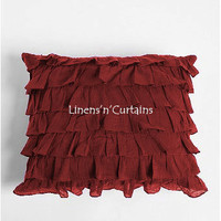 2PC Burgundy Euro Pillow Shams Ruffled Style Egyptian Cotton 1000 Thread Count