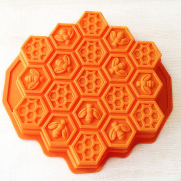 Bee Honeycomb  Cake Mold Soap Mould  Flexible Silicone Mold For Handmade Soap Candle Candy Chocolate Cake Fimo Resin Crafts