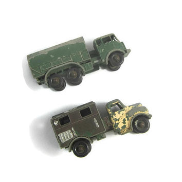 2 Vintage Lesney Matchbox Die Cast Military Vehicles Toy Radio Truck & General Service Lorry Made in England
