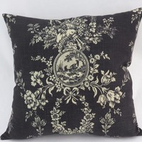 Black Toile Pillow, Waverly Country House Noire Square with Ticking Stripe Back, Cream Bird Cameo Floral Fruit, Cover Only / Insert Incl.
