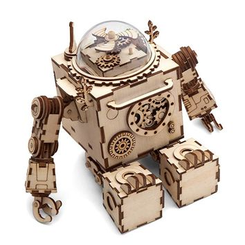 Robotime Creative DIY 3D Steampunk Robot Wooden Puzzle Game Assembly Music Box Toy Gift for Children Teens Adult AM601