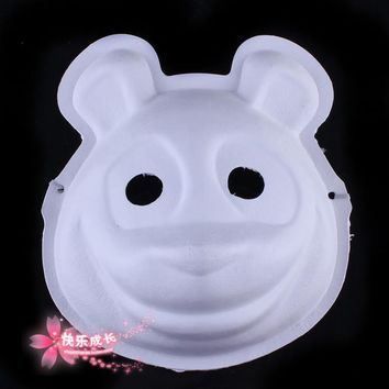 Lot TEN Unpainted Panda Mask Blank White Paper Pulp Panda