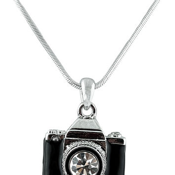 Silvertone and Black Camera with Center Stone Lens Style with an 18 Inch Snake Franco Chain Necklace