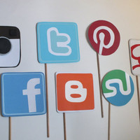 Photo booth props: SOCIAL MEDIA, Facebook ,instagram, twitter  blogger pinterest google stuble