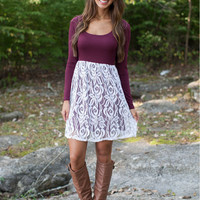 Red Wine and White Long Sleeve Lace Dress