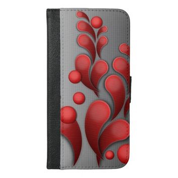red flourishing floral iPhone 6/6s plus wallet case