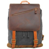Large Camping Travel Rucksack Handmade Thick Real Leather Splicing Outdoor Men Backpack