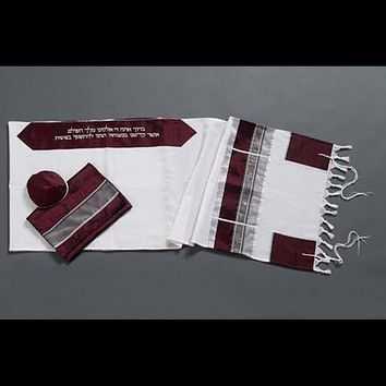 Made In Israel Wool Tallit With Silver Gray Organza Stripes
