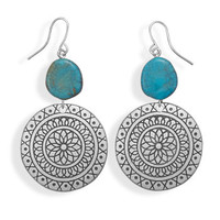 Flower Drop Design Fashion Earrings with Imitation Turquoise