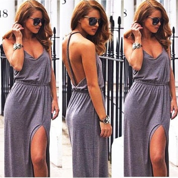 Women Sexy Backless Summer Long Evening Party Dress Grey Beach Long Dress