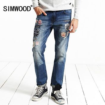 SIMWOOD Brand Clothing 2017 New Autumn Winter Patchwork Print Biker  Skinny  Robin Jeans Men Denim Pants  SJ6056