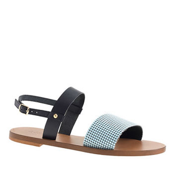 J.Crew Womens Chain-Mail Ankle-Strap Sandals