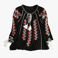 Black Embroidered Cotton Blouse