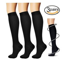 Compression Socks,(3 pairs) Compression Sock for Women & Men - Best For Running, Athletic Sports, Crossfit, Flight Travel - Suits Nurses, Maternity Pregnancy, Shin Splints - Below Knee High