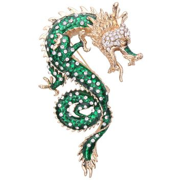 Bella Fashion Green Open Mouth Powerful Dragon Enamel Brooch Pin Austrian Crystal Rhinestone Animal Brooch Women Party Jewelry