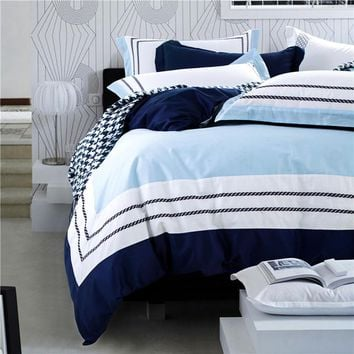 Deep Blue Sea Bedding. Hotel luxury embroidered bedding sets. Duvet Set, 100% cotton