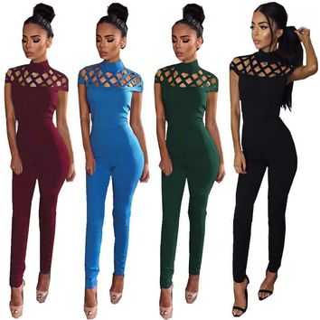 New Summer Women Sexy Bodysuit Jumpsuits European Style Club Fashion Hollow Out Solid Zipper Rompers Vestido De Festa Clothing