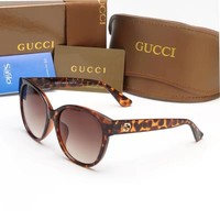 """Gucci"" Fashion Leopard Personality Little Bee Big Frame Sunglasses Glasses"