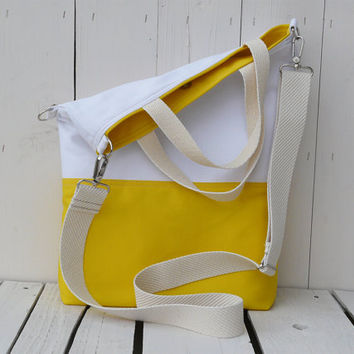 canvas totes - summer bag - yellow and white - foldover bag - crossbody bag - two toned bag - messenger - weekender - travel