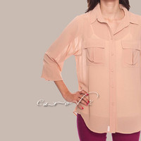 Sheer Blouse Sheer Top Semi See Through Top Shirt Long Sleeve