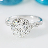 9mm Charles & Colvard Forever ONE Round Moissanite 14K White Gold Infinite Band Halo MicroPave Diamond Ring 3.45 CTTW