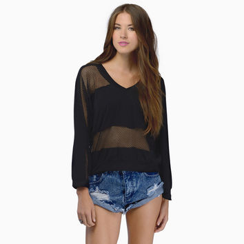 Lace Patchwork See Through Hollow Out Permeable Round-neck Long Sleeve Pullover Tops Hoodies [6407742276]