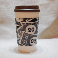 Slip-On Coffee Cozy Made With Monopoly Money Inspired Fabric
