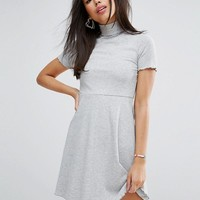 ASOS Skater Mini Dress in Rib with Roll Neck at asos.com