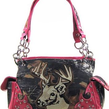 Western Camo Deer Buck Head Satchel Purse Shoulder Bag