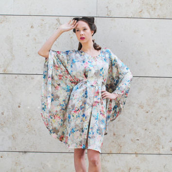 S/S 14 Turquoise beige silk caftan with flower pattern