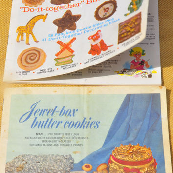 "1960s Vintage Advertising Cookbook. 2 Stapled Booklets 6' x 5"". Jewel-box Butter Cookies (26 pgs) & Do-it-together Butter Cookies. (30 pgs.)"