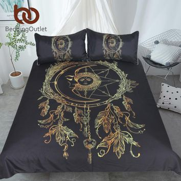 BeddingOutlet Dreamcatcher Bedding Set Golden Black Bohemian Duvet Cover With Pillowcases 3-Piece Sun and Moon Exotic Bedclothes
