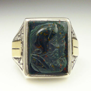 Vintage Ring Bloodstone Roman Warrior Sterling Silver 14K Gold Mens Jewelry