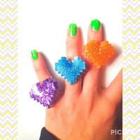8 Bit Glitter Heart Resin Ring in Orange/Blue/Purple/Geekery/Cute Gamer Girl on Adjustable Ring Base