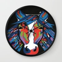 Spirited Horse Wall Clock by Kathleen Sartoris