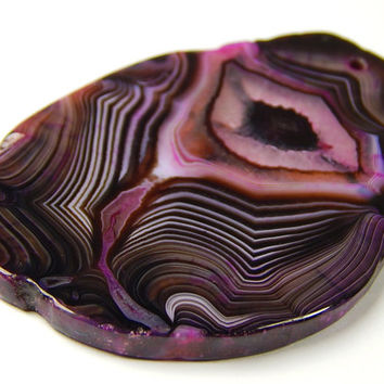 1 Pc - 65x43x4mm Purple Agate Slice Freeform Pendant Bead - Focal Bead - Gemstone Pendants - Jewelry Supplies