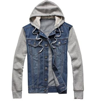 Top Quality Men Denim Jacket men hooded sportswear Outdoors Casual fashion Jeans Jackets Hoodies Cowboy Mens Jacket and Coat 5XL