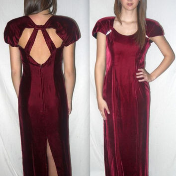 Marla .. Vintage 80s velvet maxi dress / red formal prom party / 30s 40s style evening gown / cut out cage back