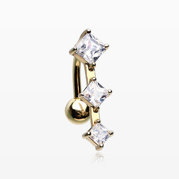 14 Karat Gold Triple Diamante Reverse Belly Button Ring