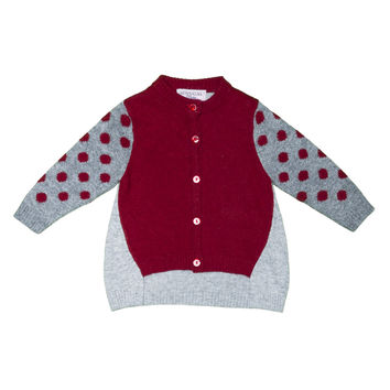 Monnalisa - Baby Girl Angora Blend Polka Dot Cardigan, Grey
