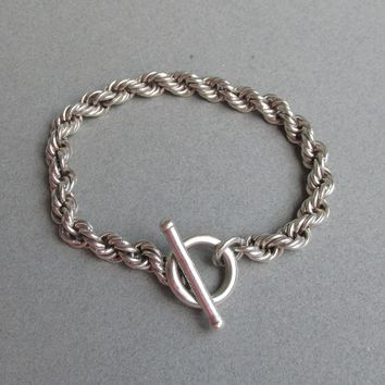 "Heavy 36 Grams Vintage Mexico Sterling Silver Rope Chain Toggle Bracelet, Unisex XL 8 1/2"" Long"