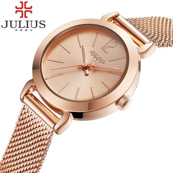 2017 Julius Brand Ladies Women Dress Watches Thin Quartz Watch Steel Mesh Band Luxury Gold Bracelet Wristwatch Relogio Feminino