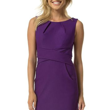 Teeze Me | Sleeveless Tank Cross Waist Sheath Dress With Pockets | Purple