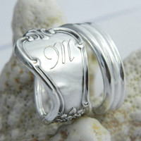 Silver Spoon Ring, Signature - You choose Monogram - Custom Engraved- Personalized