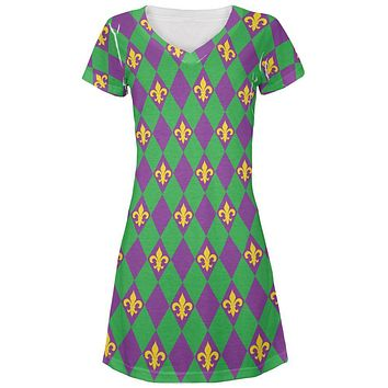 Mardi Gras Fleur De Lis Juniors V-Neck Beach Cover-Up Dress