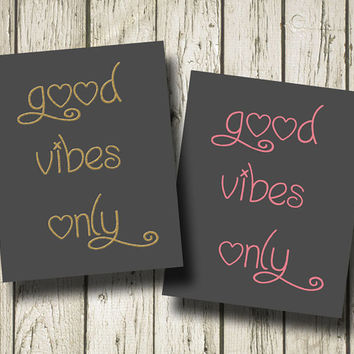Good Vibes Only Quotes Print Poster Home decor Wall Art L14061